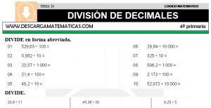 23 DIVISIÓN DE DECIMALES - CUARTO DE PRIMARIA