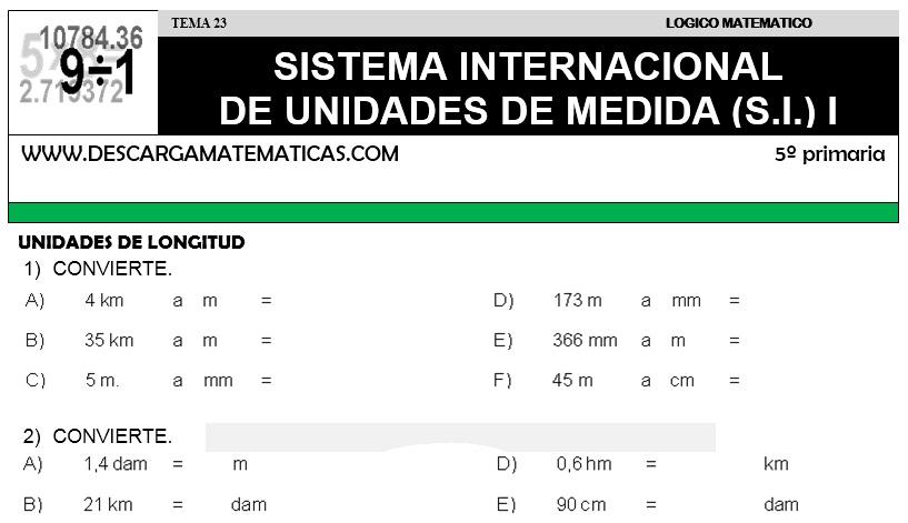 23 SISTEMA INTERNACIONAL DE UNIDADES DE MEDIDA - QUINTO DE PRIMARIA