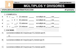 24 MÚLTIPLOS Y DIVISORES - CUARTO DE PRIMARIA