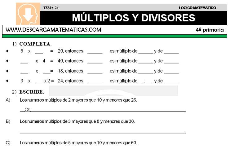 DESCARGAR MULTIPLOS Y DIVISORES – MATEMATICA CUARTO DE PRIMARIA ...
