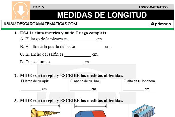 24 MEDIDAS DE LONGITUD - TERCERO DE PRIMARIA