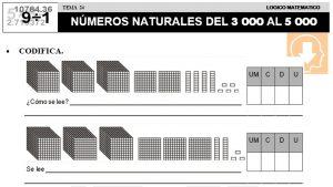 24 NÚMEROS NATURALES DEL 3000 AL 5000 - SEGUNDO DE PRIMARIA