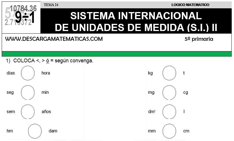 24 SISTEMA INTERNACIONAL DE UNIDADES DE MEDIDA II - QUINTO DE PRIMARIA