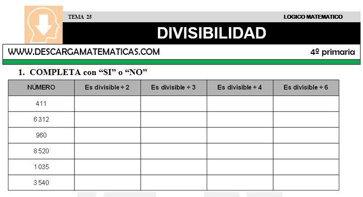 DESCARGAR DIVISIBILIDAD – MATEMATICA CUARTO DE PRIMARIA – Descarga ...