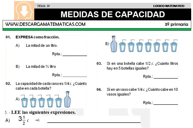 25 MEDIDAS DE CAPACIDAD - TERCERO DE PRIMARIA