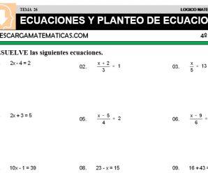 DESCARGAR ECUACIONES Y PLANTEO DE ECUACIONES – MATEMATICA CUARTO DE PRIMARIA