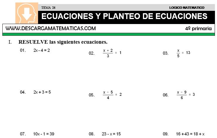 26 ECUACIONES Y PLANTEO DE ECUACIONES - CUARTO DE PRIMARIA