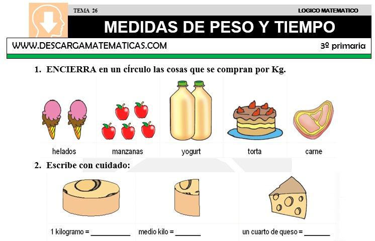 26 MEDIDAS DE PESO Y TIEMPO - TERCERO DE SECUNDARIA