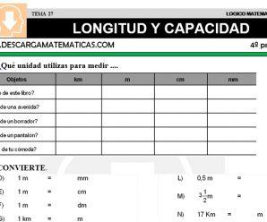 DESCARGAR LONGITUD Y CAPACIDAD – MATEMATICA CUARTO DE PRIMARIA