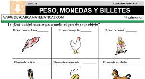 28 PESO, MONEDAS Y BILLETES - CUARTO DE PRIMARIA