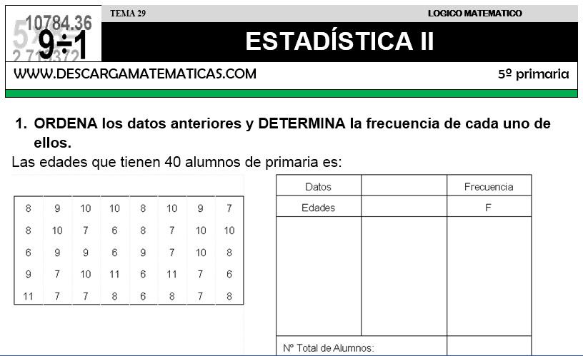 29 ESTADÍSTICA II - QUINTO DE PRIMARIA
