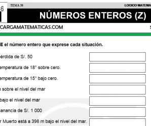 DESCARGAR NUMEROS ENTEROS – MATEMATICA QUINTO DE PRIMARIA