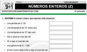 30 NÚMEROS ENTEROS (Z) - QUINTO DE PRIMARIA