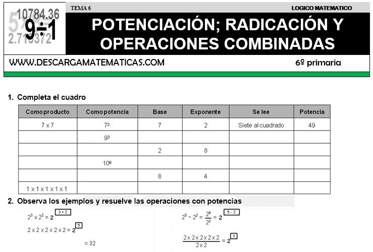 DESCARGAR POTENCIACION Y RADICACION – MATEMATICA SEXTO DE PRIMARIA ...