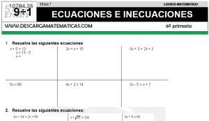 07 ECUACIONES E INECUACIONES - SEXTO DE PRIMARIA