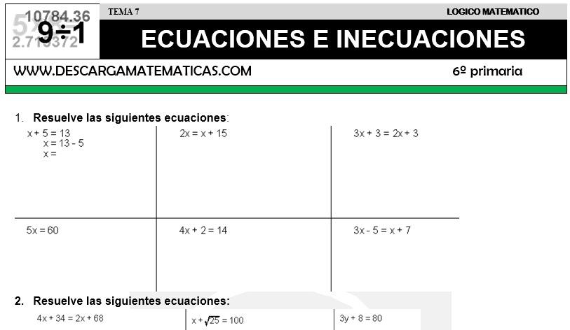 descargar ecuaciones e inecuaciones matematica sexto de