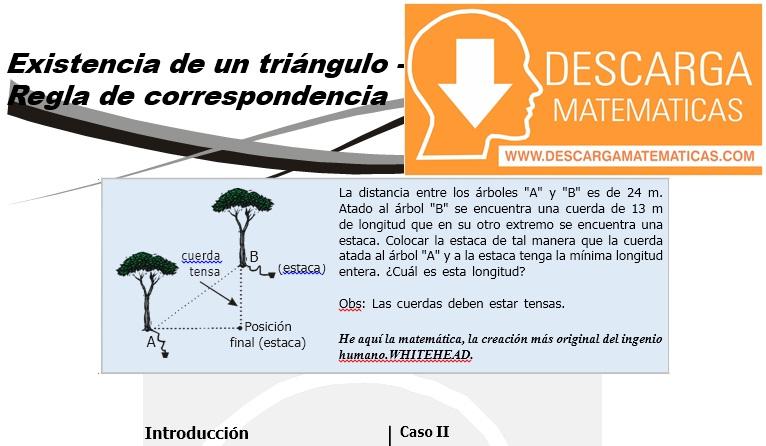 07 Existencia de un triángulo - Regla de correspondencia Geometria Tercero de Secundaria