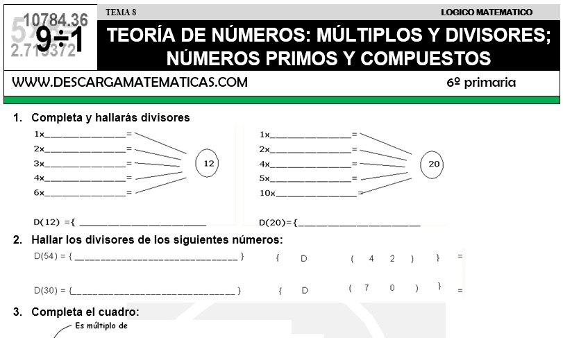 08 TEORÍA DE NÚMEROS - SEXTO DE PRIMARIA