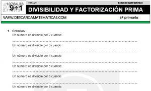 09 DIVISIBILIDAD Y FACTORIZACIÓN PRIMA - SEXTO DE PRIMARIA