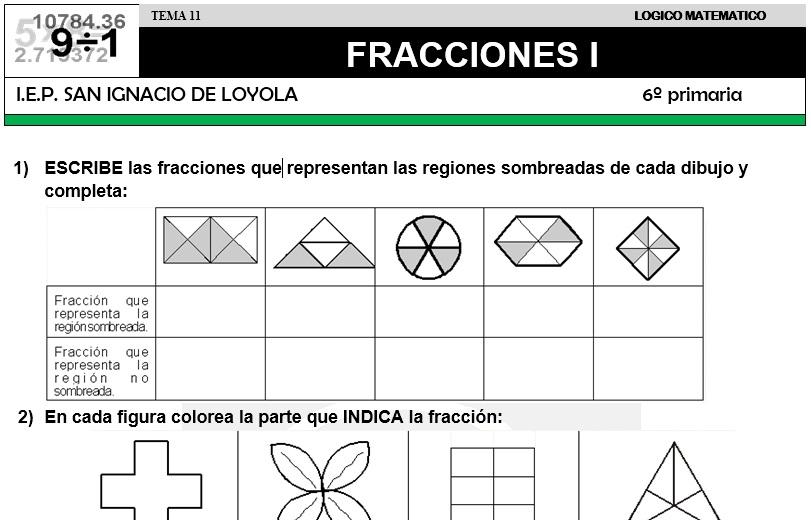11 FRACCIONES I - SEXTO DE PRIMARIA