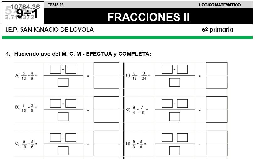 12 FRACCIONES II - SEXTO DE PRIMARIA