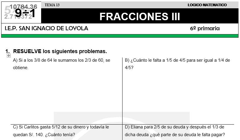 13 FRACCIONES III - SEXTO DE PRIMARIA