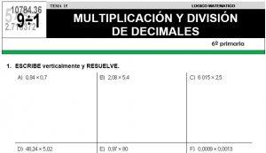 15 MULTIPLICACIÓN Y DIVISIÓN DE DECIMALES - SEXTO DE PRIMARIA