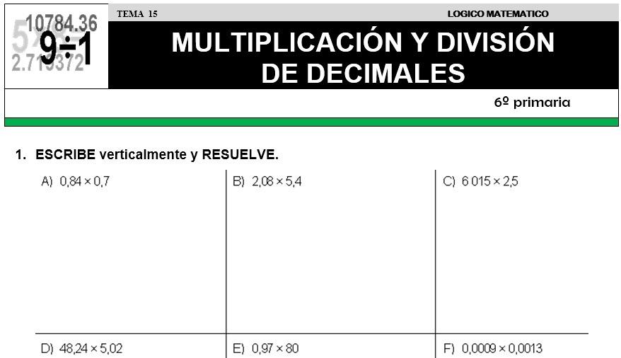 DESCARGAR MULTIPLICACIÓN Y DIVISIÓN DE DECIMALES – MATEMÁTICA SEXTO ...
