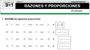 16 RAZONES Y PROPORCIONES - SEXTO DE PRIMARIA