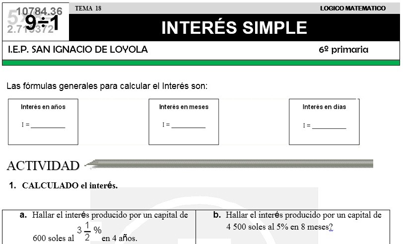 18 INTERÉS SIMPLE - SEXTO DE PRIMARIA
