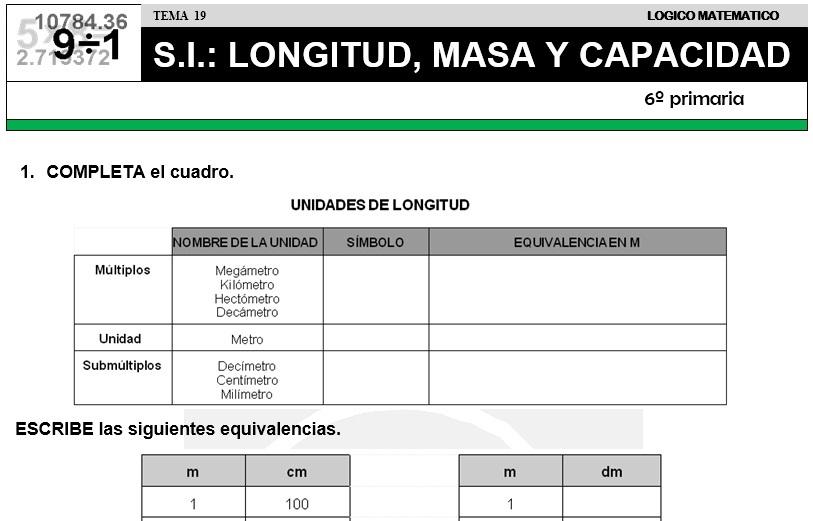 19 S. I. - LONGITUD, MASA Y CAPACIDAD - SEXTO DE PRIMARIA