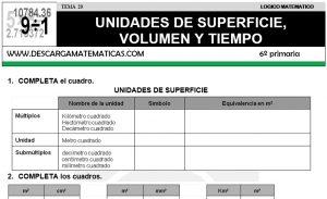 20 UNIDADES DE SUPERFICIE, VOLUMEN Y TIEMPO - SEXTO DE PRIMARIA