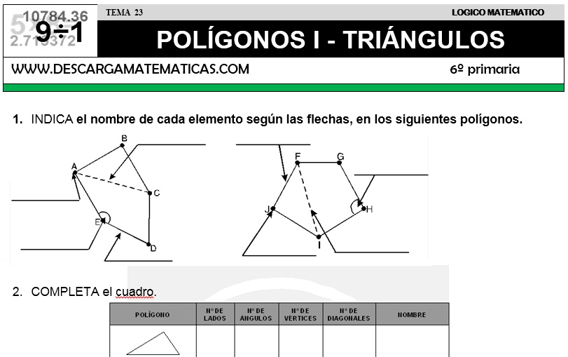 23 POLÍGONOS I - TRIÁNGULOS - SEXTO DE PRIMARIA