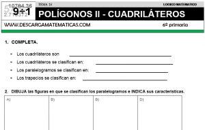 24 POLÍGONOS II - CUADRILÁTEROS - SEXTO DE PRIMARIA