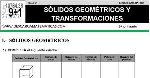 27 SÓLIDOS GEOMÉTRICOS Y TRANSFORMACIONES - SEXTO DE PRIMARIA