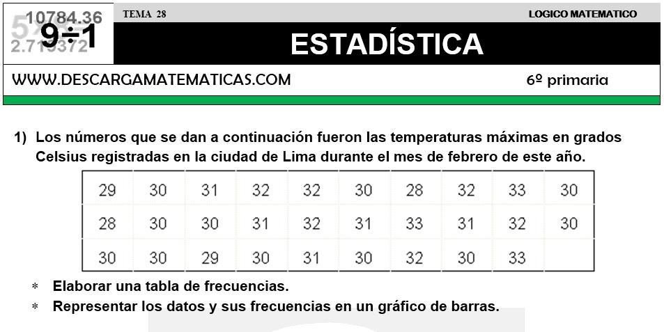 28 ESTADÍSTICA - SEXTO DE PRIMARIA