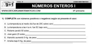29 NÚMEROS ENTEROS I - SEXTO DE PRIMARIA