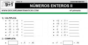 30 NÚMEROS ENTEROS II - SEXTO DE PRIMARIA