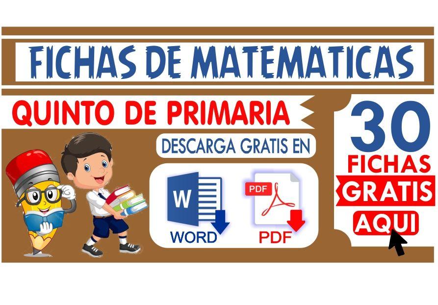 Matematicas Quinto de Primaria